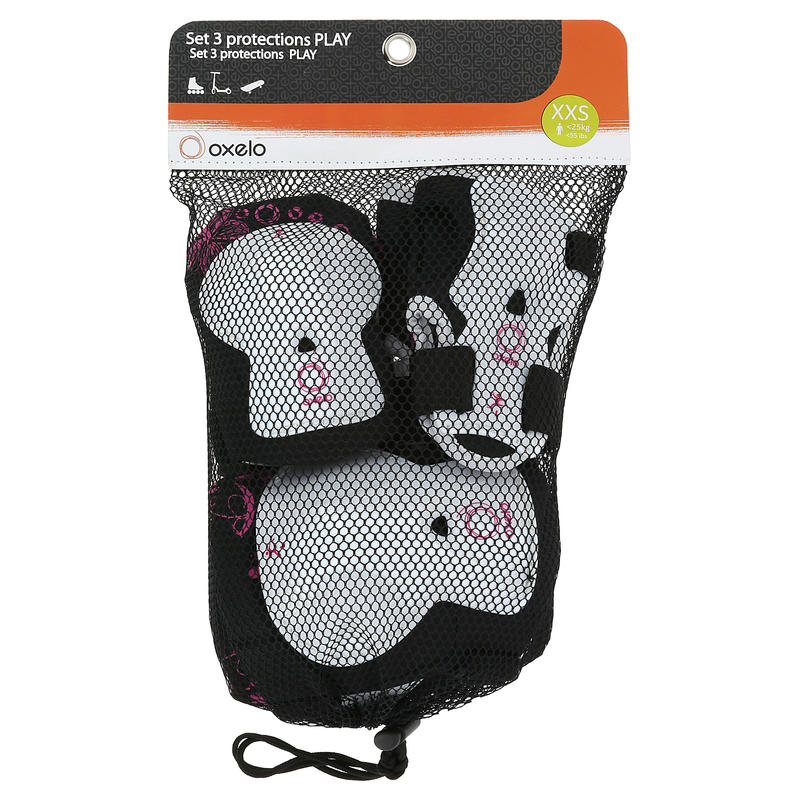 Play Kids' Inline Skating and Skateboarding Protectors Set of 3 - White/Pink