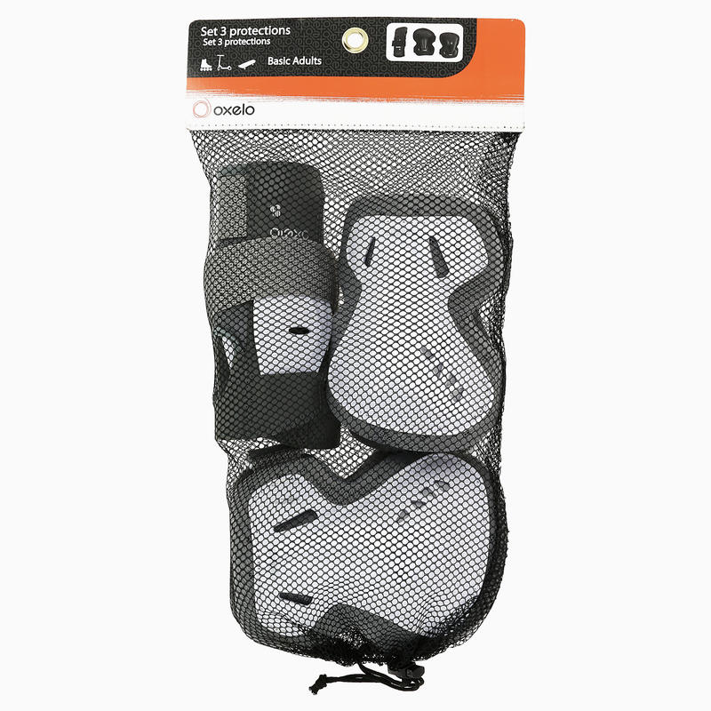 FIT 3 Adult Inline Skating Protections 3-Pack - Grey/White