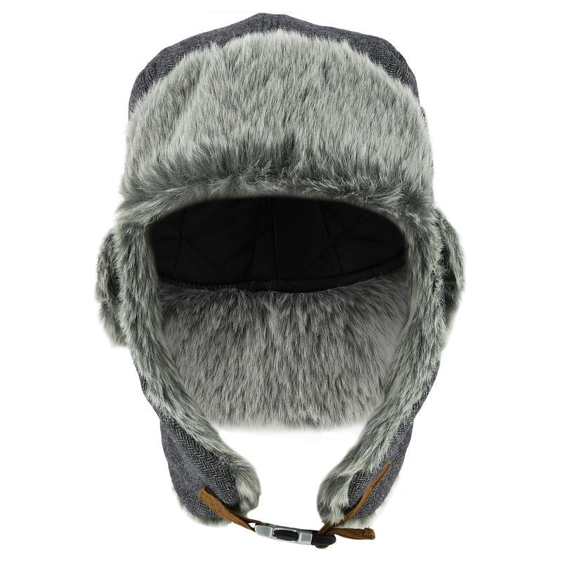 หมวกสกีขนสัตว์สไตล์รัสเซียสำหรับผู้ใหญ่รุ่น CRUISING (สีเทา)