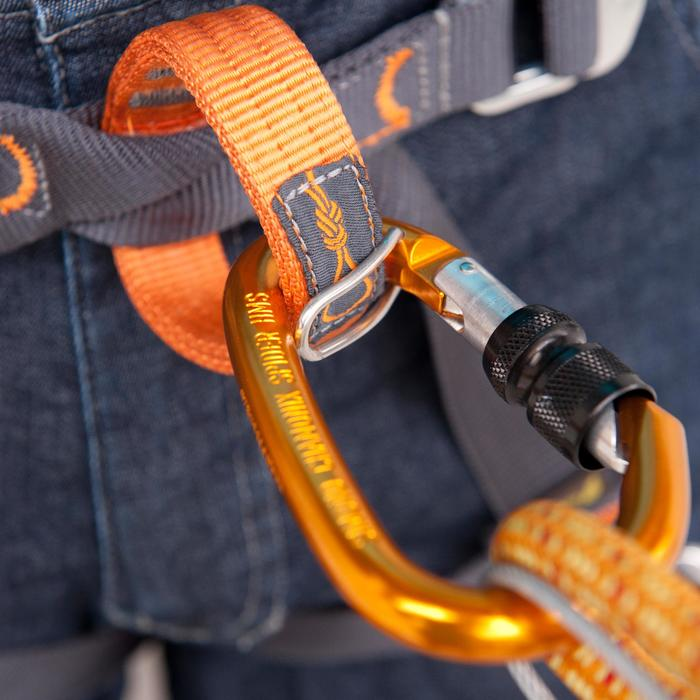 Spider HMS screw snap hook + BLC for climbing and mountaineering - orange.