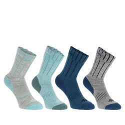 2 paar sokken Arpenaz Warm voor winterse trektochten, grijs en koraal - 344858