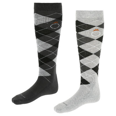 Losanges Adult Horse Riding Socks - Light Grey/Dark Grey