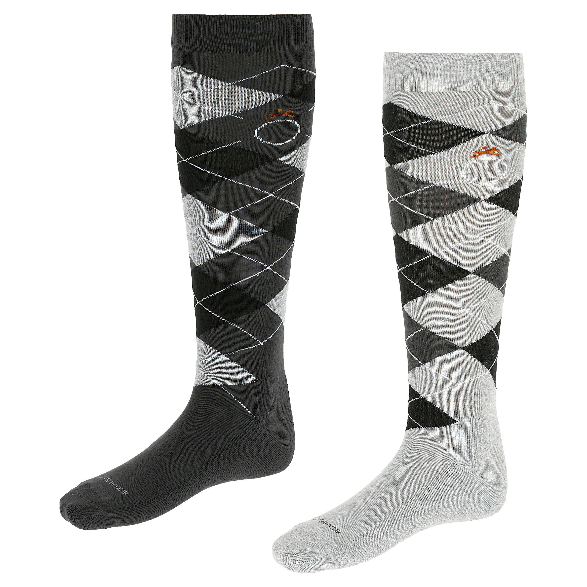 Chaussettes équitation adulte LOSANGES gris et noir x2