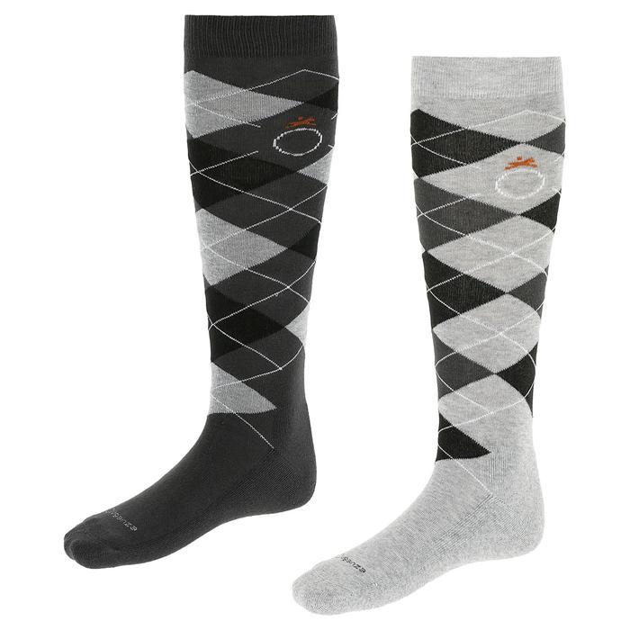 菱格紋成人款馬術用襪-淺灰/深灰