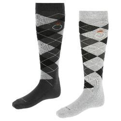 Calcetines de equitación adulto ROMBOS gris claro y gris oscuro