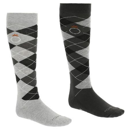 Argyle Adult Horse Riding Socks - Light Grey/Dark Grey