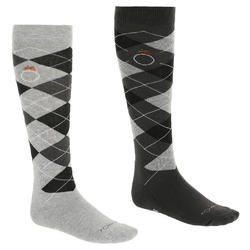 Argyle Adult Horse Riding Socks - Light Grey/Dark Grey