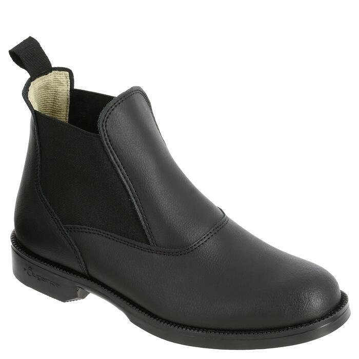 經典成人/兒童款皮製短馬靴-黑色