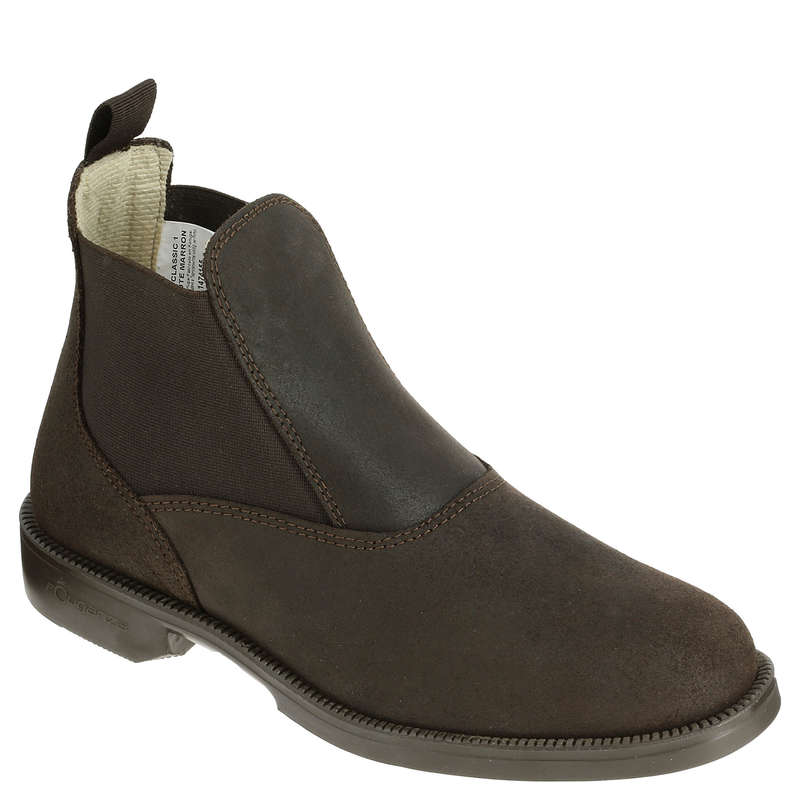ADULT RIDING BOOTS/HC Horse Riding - Classic Brown Leather Boots Large Sizes  FOUGANZA - Horse Riding