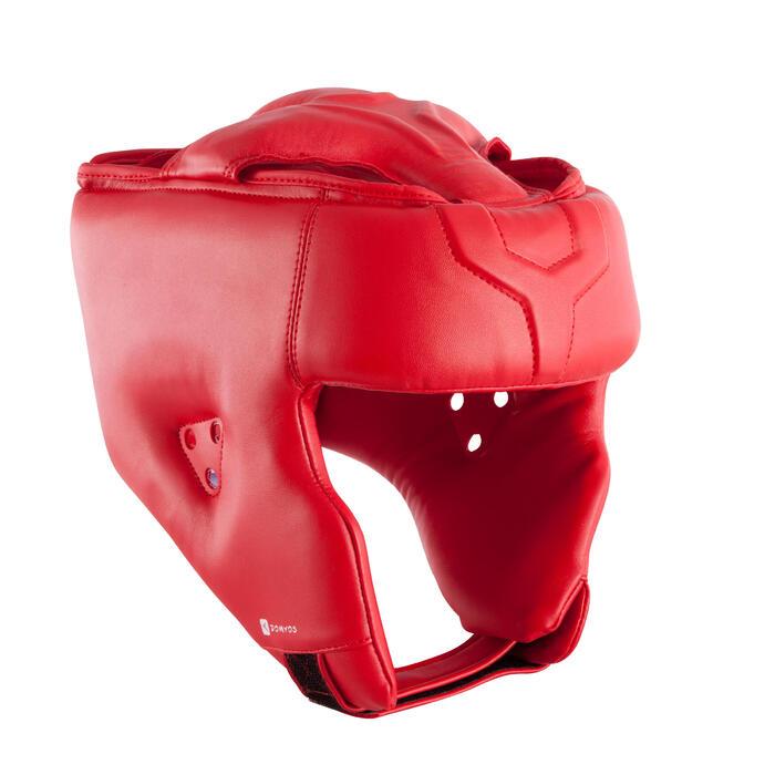 Open face hoofdbeschemer voor training en wedstrijden rood