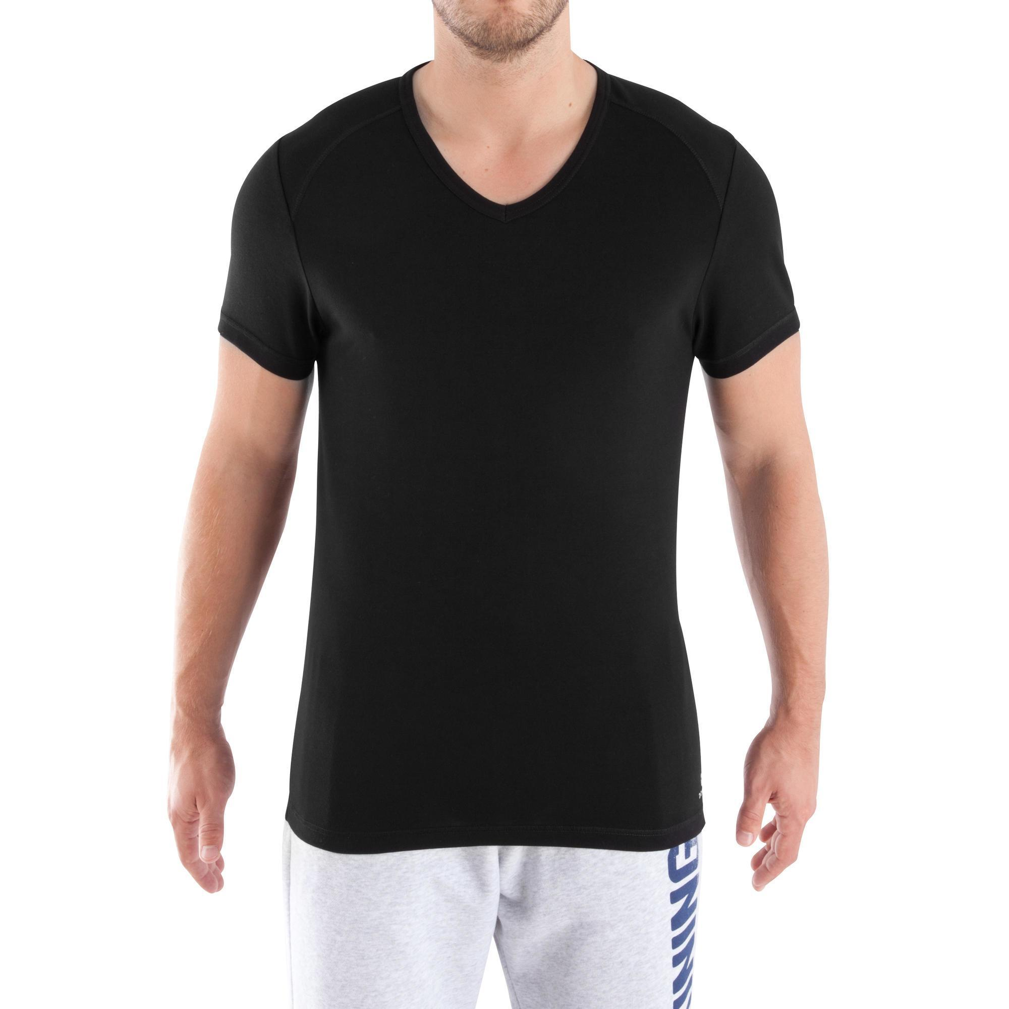tee shirt col v dry skin musculation homme noir domyos by decathlon. Black Bedroom Furniture Sets. Home Design Ideas