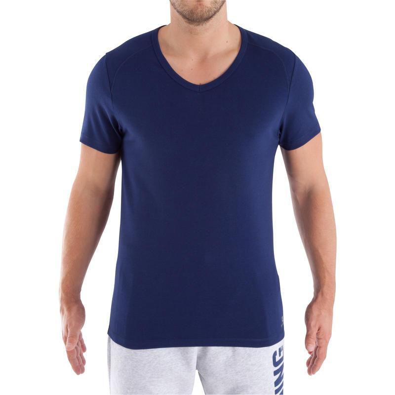 เสื้อยืดคอวีสำหรับเพาะกาย Dry Skin (สีน้ำเงินเข้ม)