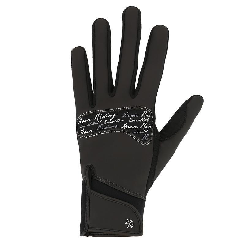 Gants chauds d'équitation femme KIPWARM noir