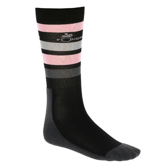 Paardrijkousen Basic kinderen zwart met roze strepen 1 paar - 354691
