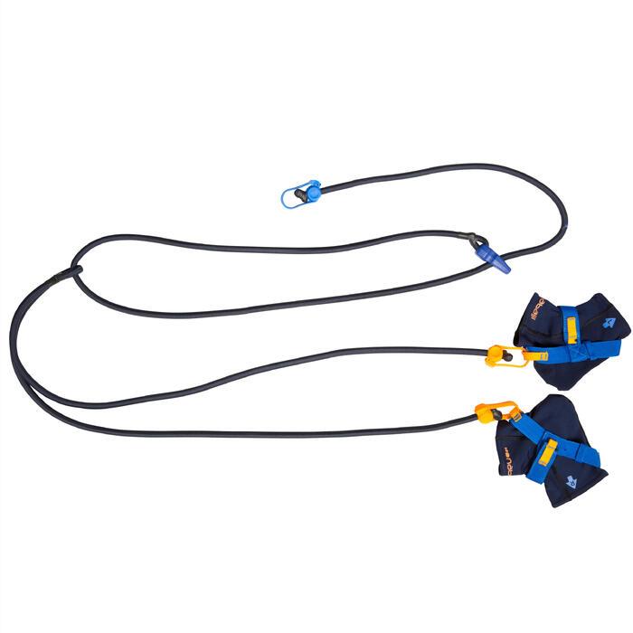 Zwemelastiek met enkelbandjes blauw geel - 356533