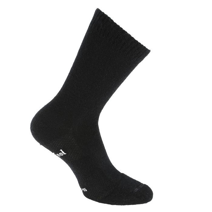 Sokken Double 500 voor sportief wandelen wol/katoen zwart