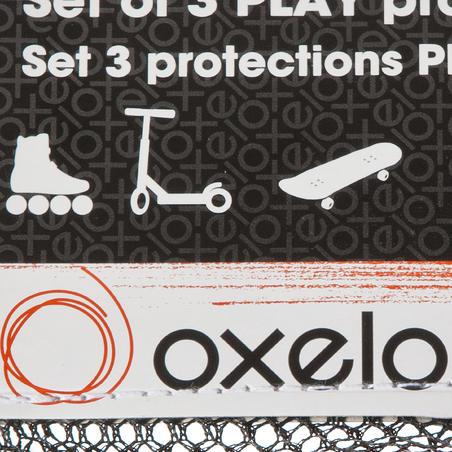 PLAY junior set of 3 inline skating and skateboarding protectors - black