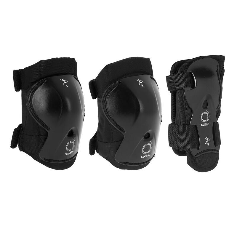 Set de 3 protecciones roller skateboard skate niños PLAY negro