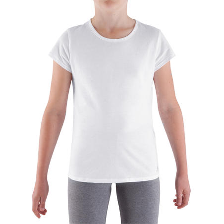 Girls' Short-Sleeved Gym T-Shirt - White