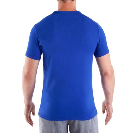 tee shirt col v dry skin musculation homme bleu domyos by decathlon. Black Bedroom Furniture Sets. Home Design Ideas