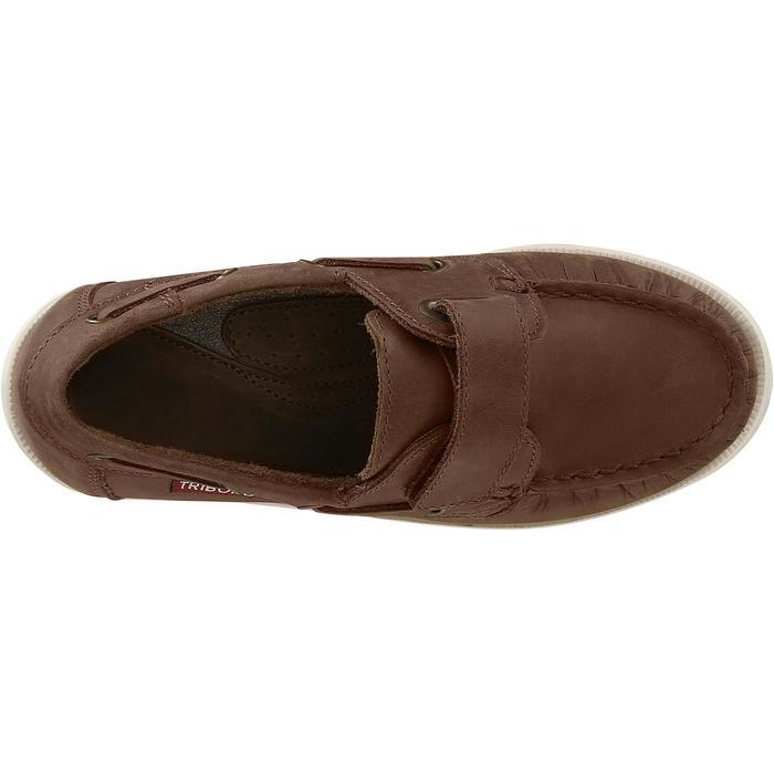Calzado náutico de cuero para niños Cruise 500 marrón