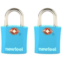 2 Vorhängeschlösser mit Schlüsseln blau