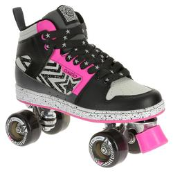 Patines 4 Ruedas Quad Roller Oxelo Mujer Negro Rosa
