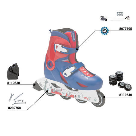 PLAY 3 children's inline skates - blue red
