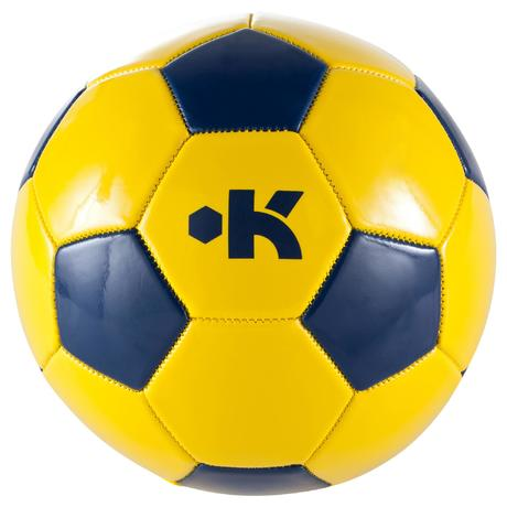 ballon de football first kick taille 4 enfant de 8 12 ans jaune bleu kipsta by decathlon. Black Bedroom Furniture Sets. Home Design Ideas