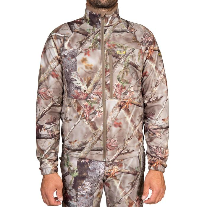 POLAIRE CHASSE SILENCIEUSE CHAUDE DEPERLANTE 300 CAMOUFLAGE FORET