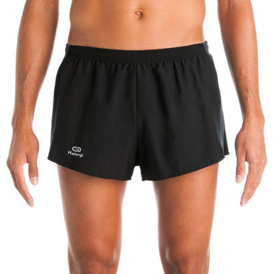 Kiprun men's split running shorts - black/grey