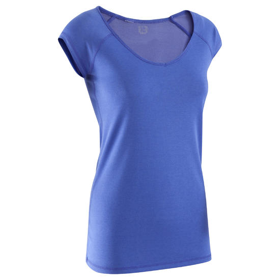 Dames T-shirt voor gym en pilates, slim fit - 377883