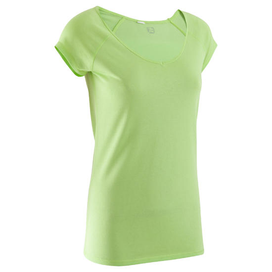 Dames T-shirt voor gym en pilates, slim fit - 377892