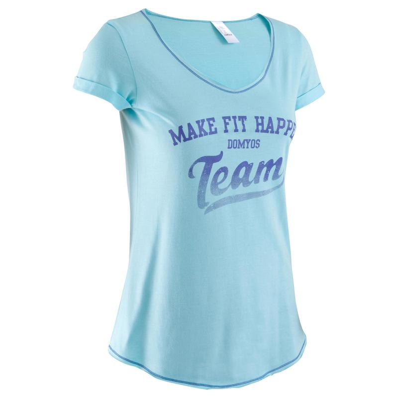 De Claro Camiseta Azul Estampada Corta Fitness Ropa Manga Mujer FTK3l1cuJ