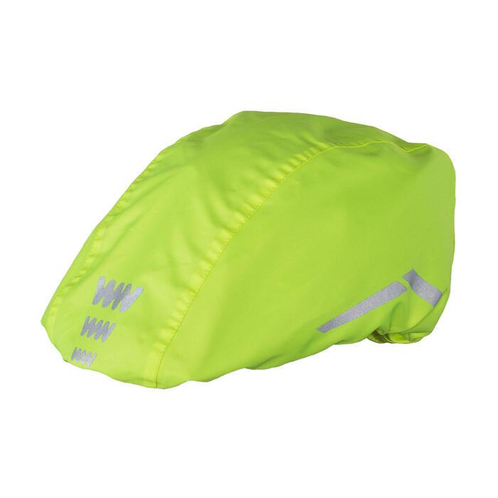 Helmüberzug Regencover für Fahrradhelm neongelb
