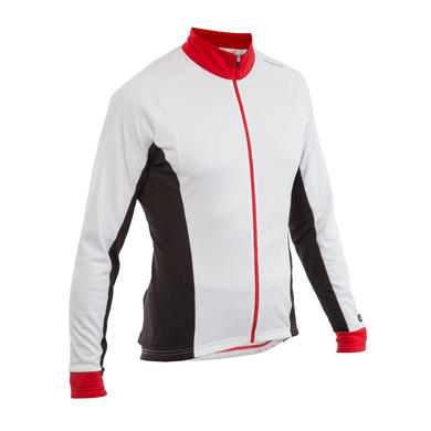 MAILLOT VELO MANCHES LONGUES 500 BLANC ROUGE