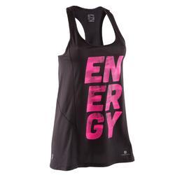 Camiseta Larga sin mangas Breathe negro estampado rosa fitness mujer
