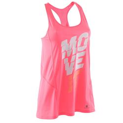 Camiseta larga S/M Breathe estampada, rosa fitness mujer