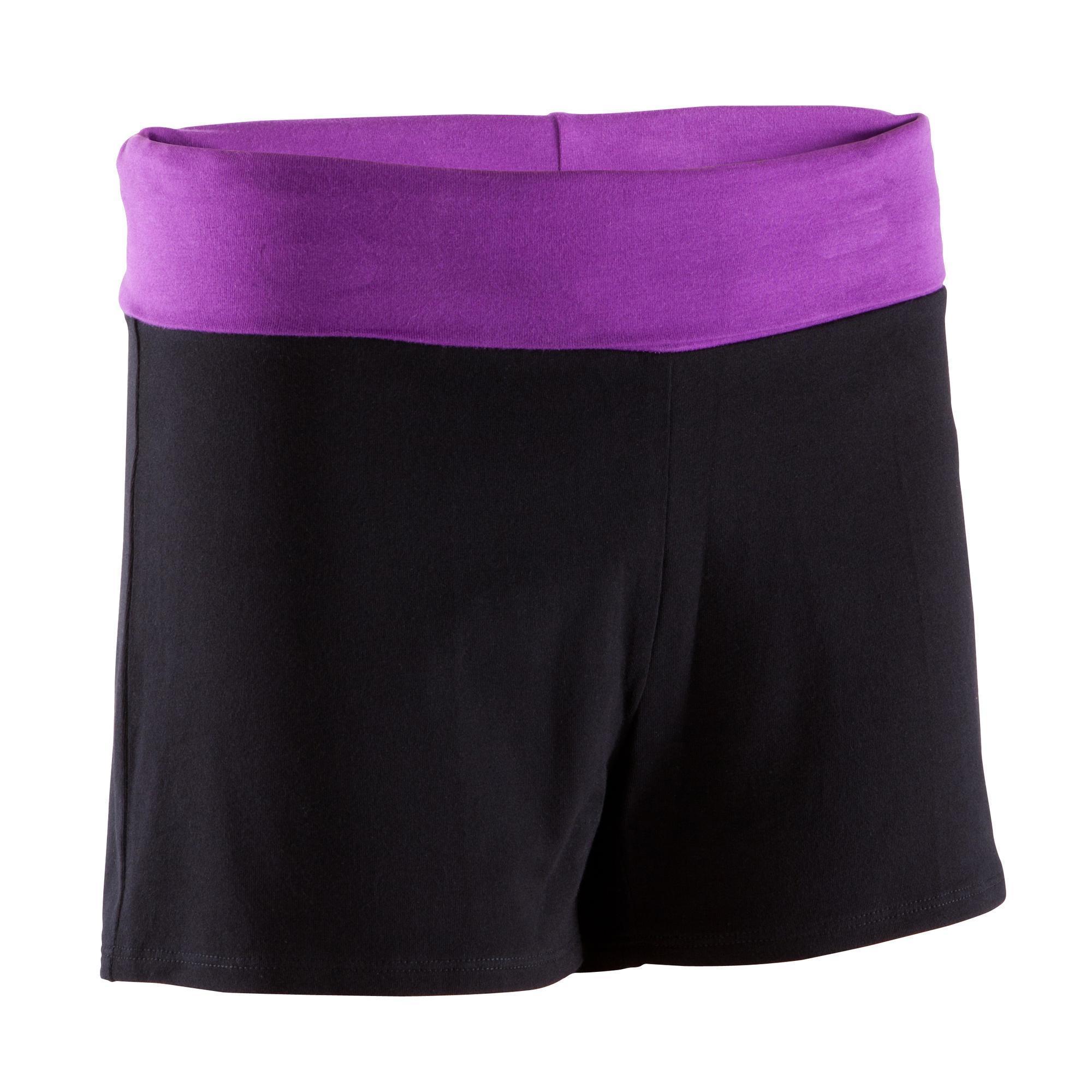 Short yoga coton bio femme noir violet domyos by decathlon - Petit trampoline decathlon ...