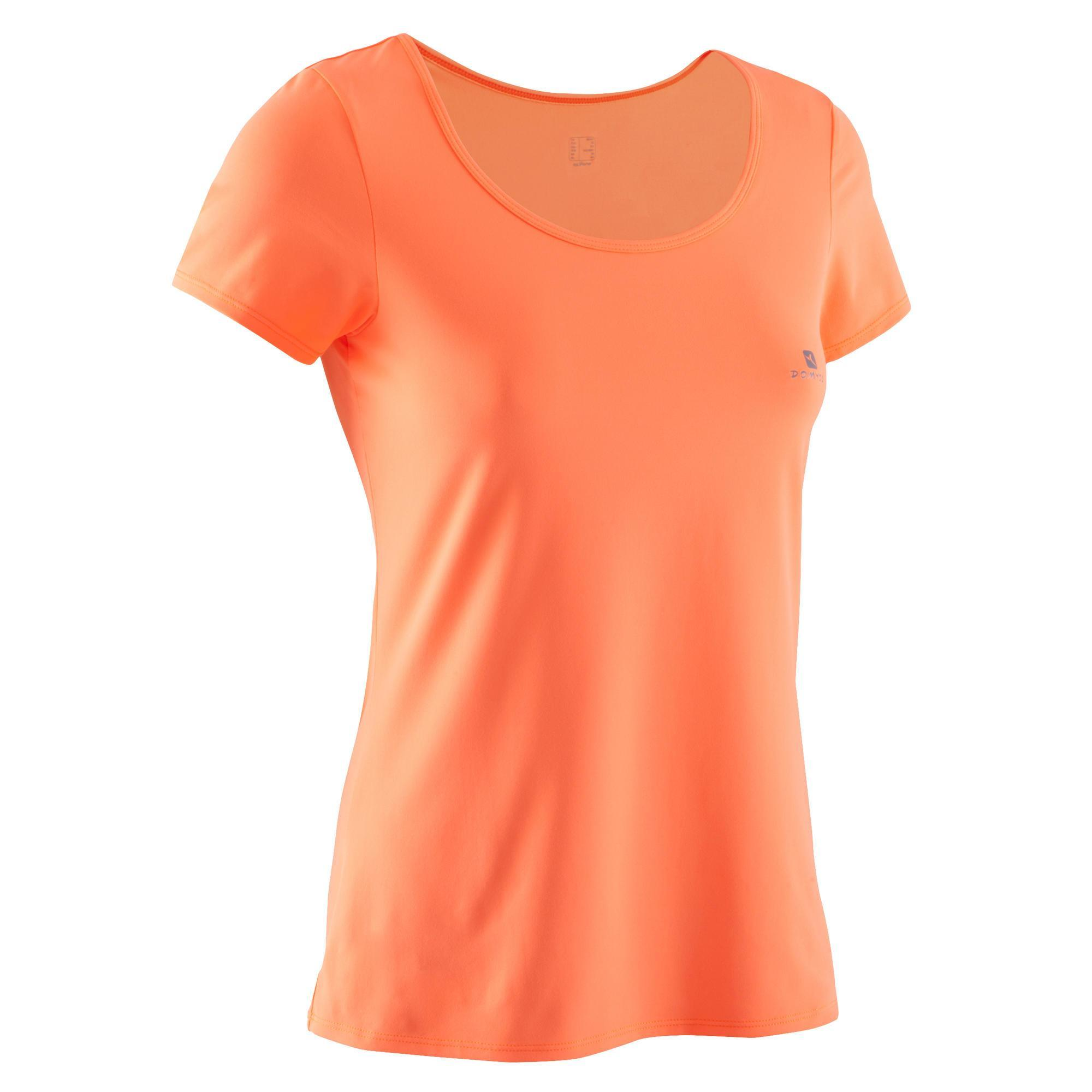 t shirt energy fitness femme orange fluo domyos by decathlon. Black Bedroom Furniture Sets. Home Design Ideas