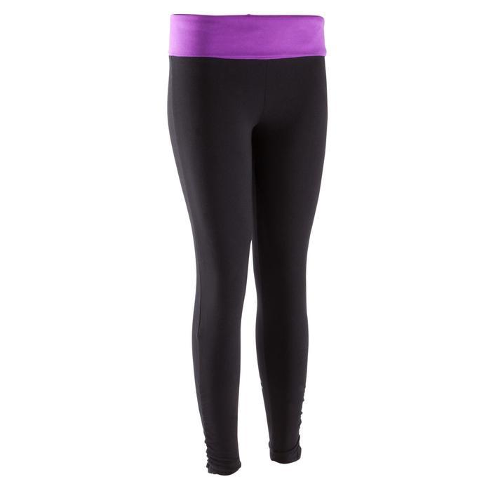 Legging yoga femme coton issu de l'agriculture biologique noir / gris chiné - 381601