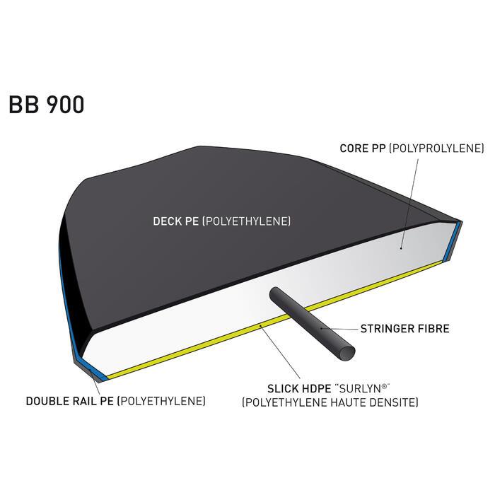 "Bodyboard 900 blauw personen > 1m85 45"" polyproplyeen stringer + leash"