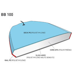 """Bodyboard 100 S (35"""") groen met slick en leash. - 381769"""