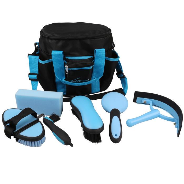 Bolsa de limpieza + cepillos equitación LAMI-CELL azul y gris