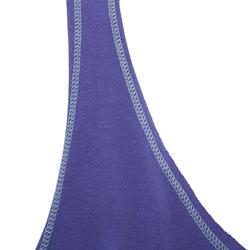 Camiseta sin mangas fitness mujer bicolor azul y azul a rayas