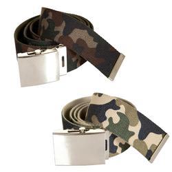Cinturón tipo correa de caza camuflaje verde y beige