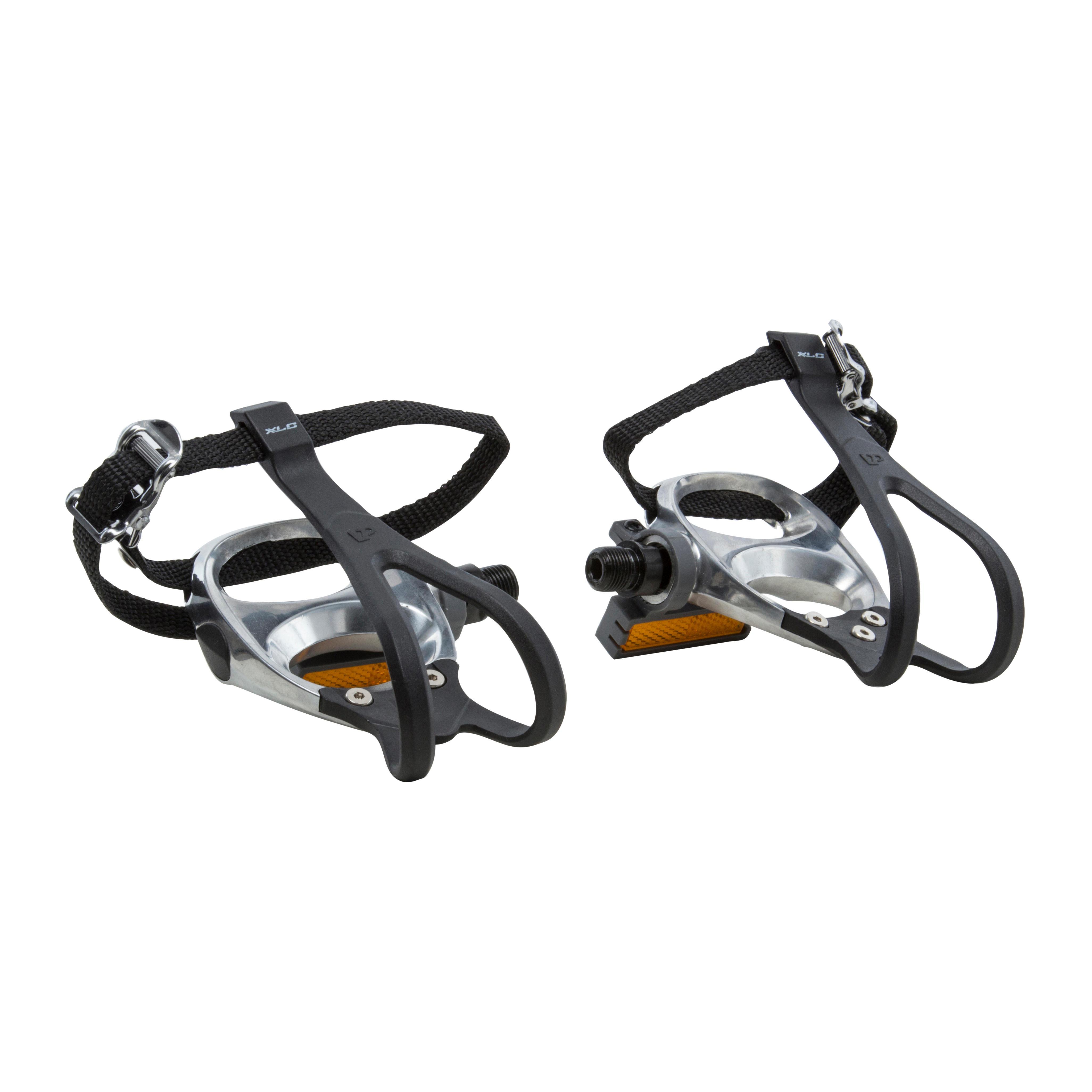 B'twin Racepedalen 100 aluminium + schoenplaatjes en voetriempjes