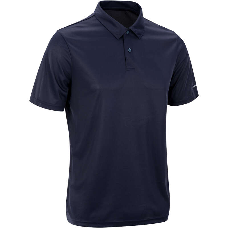 MEN WARM CONDITION RACKET SP APAREL Squash - Dry 100 Polo - Navy ARTENGO - Squash Clothing