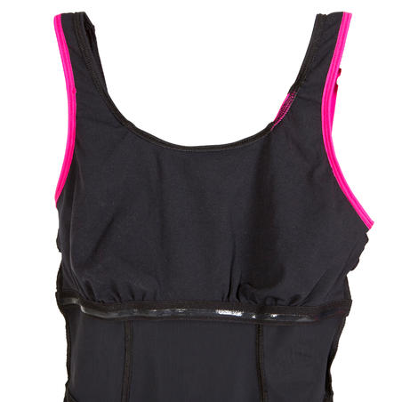 Aquanew women's one-piece aquafitness swimsuit - pink and black