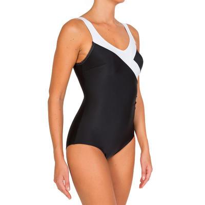 Vestido de baño enterizo de aquagym moldeador para mujer Karli Negro Blanco